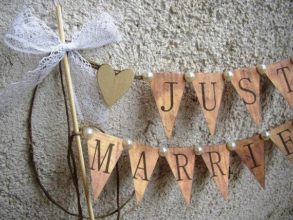 Just Married Banner Cake Topper