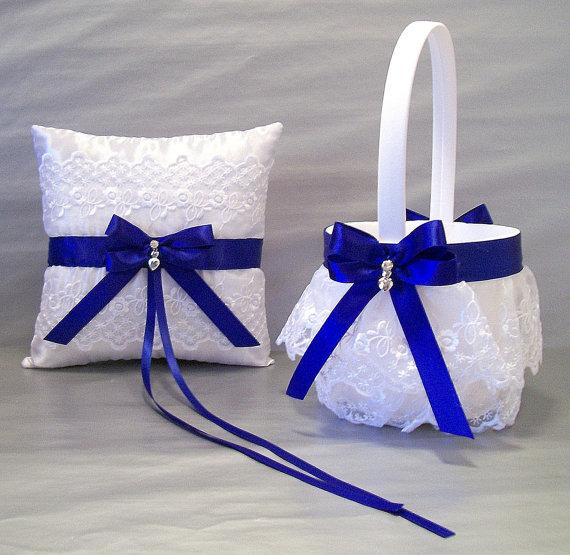 Свадьба - Cobalt Blue Wedding, Bridal, Flower Girl Basket and Ring Bearer Pillow Set on Ivory or White ~ Double Loop Bow & Hearts Charm ~ Allison Line