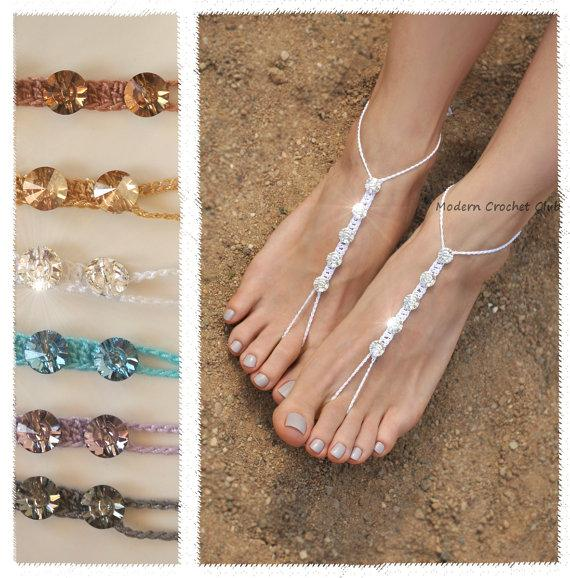 8f5e312a084 CRYSTALLIZED - Swarovski Elements Barefoot Sandals