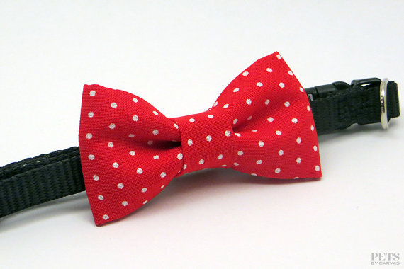 Свадьба - Red Cat Bow Tie Collar,  Bow Tie Small Dog Collar