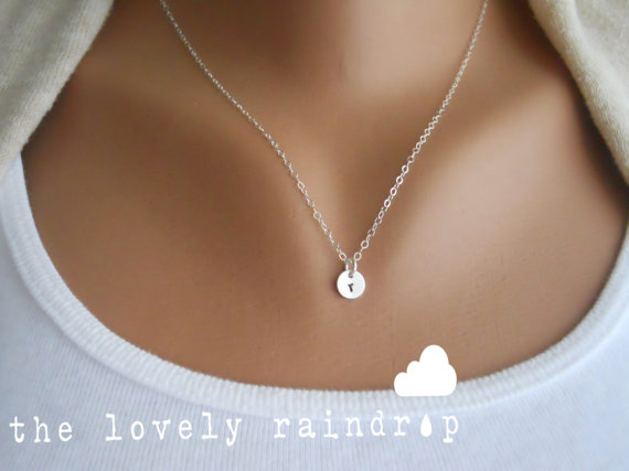 """Mariage - Customized Sterling Silver Necklace 1/4"""" disc - Hand Stamped Initial - Personalized Charm - Wedding Jewelry - Bridal - Gift For - Simple"""