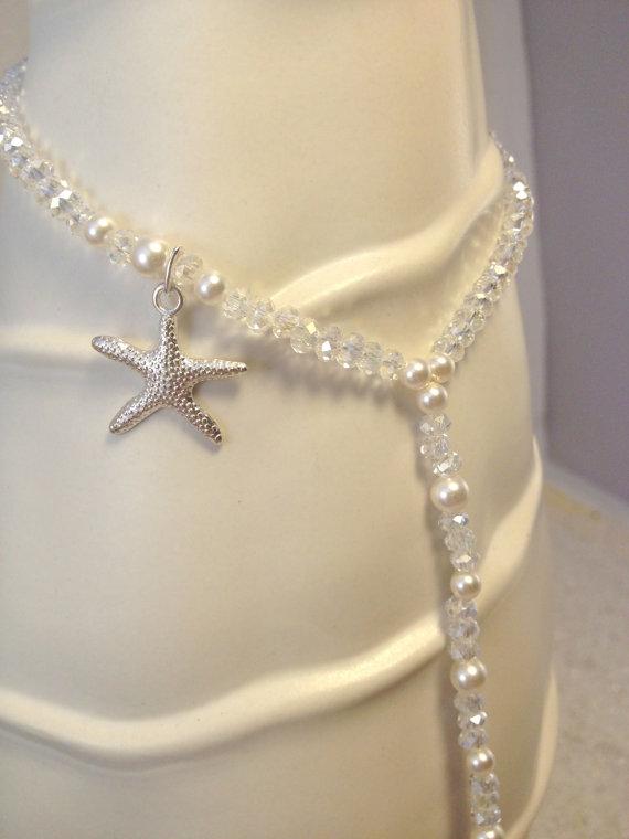 زفاف - Starfish and pearl barefoot beach wedding sandal - crystal, pearl, anklet toe ring, bridal barefoot sandal, foot jewelry