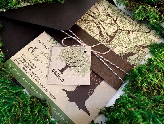 زفاف - Sample Rustic Wedding Invitations, Oak Tree Wedding Invitation on Kraft Paper, Bellyband, Brown Twine Tag, Save the Date, Shower, Printable