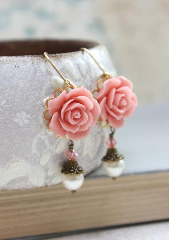 Mariage - Coral Pink Rose Earrings Swarovski Pearl Drop Floral Dangle Pink Flower Leverback Bridal Accessories Wedding Jewellery Bridesmaids Gift