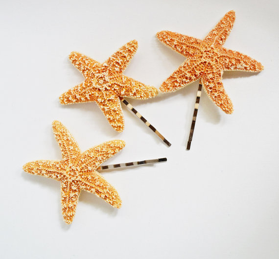 زفاف - Set of 3 Starfish Mermaid Hair Bobby Pins Accessories - Bridal Accessory, Beach Wedding, Mermaid Hair Accessories, Starfish Hair Accessories