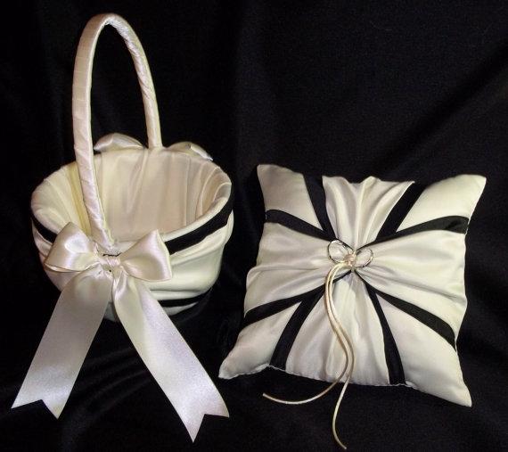 Ivory or white black accent wedding ring bearer pillow flower girl ivory or white black accent wedding ring bearer pillow flower girl basket 2 piece set mightylinksfo