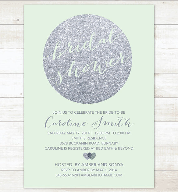 Silver Mint Bridal Shower Invitation Glitter Printable Modern Wedding Digital Invite Customizable