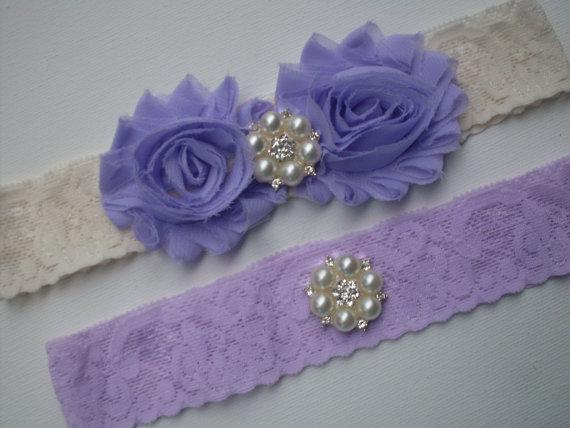 Mariage - Wedding Garter,Bridal Garter,Wedding Garter Set,Toss Garter, Lilac and Ivory Garter Set, Bridal Garter Set, Lace Garter, Wedding Garter Belt