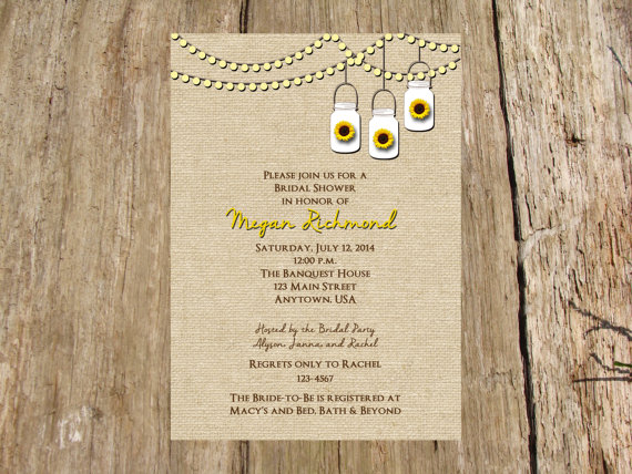 زفاف - Wine Party, Bachelorette Party or Shower Invitation, Sunflowers, Burlap, Mason Jars and Fairy Lights