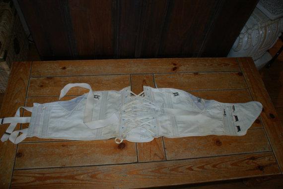 Hochzeit - Rare Vintage White Buckle / Strap Up Corset / Girdle / Back Support
