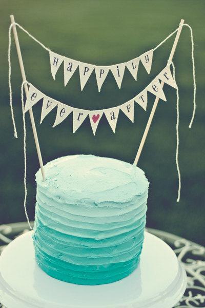 زفاف - Happily Ever After Wedding Cake Topper, bunting, custom color glitter heart