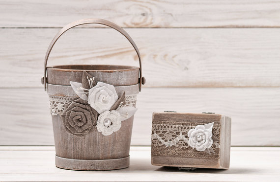 Flower Girl Basket Bucket And Ring Box Bearer Pillow Set