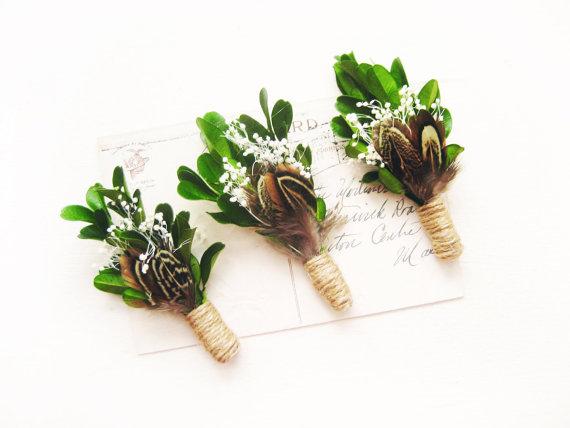 Свадьба - Woodland boutonniere, Rustic wedding, Men's lapel pin, Groom buttonhole, Groomsmen corsage - SAWYER