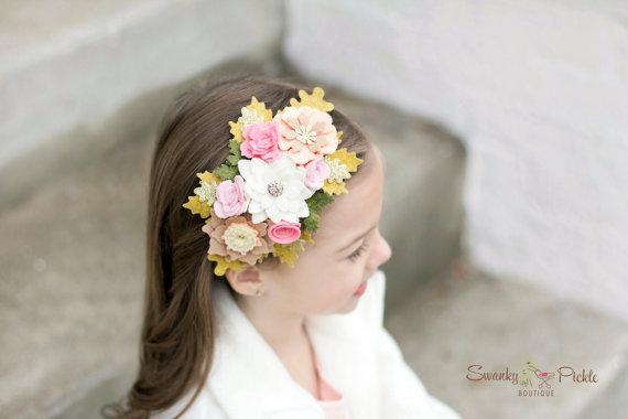 Mariage - Felt Flower Headband - Peach Pink Ivory Gold - Baby Girls Womens Headband - Flower Girl Headband- Garland Headband - Wedding Hair Accessory