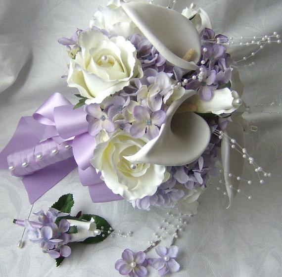 Silk Bridal Bouquet Cr Me White Calla Lilies Roses Lilac