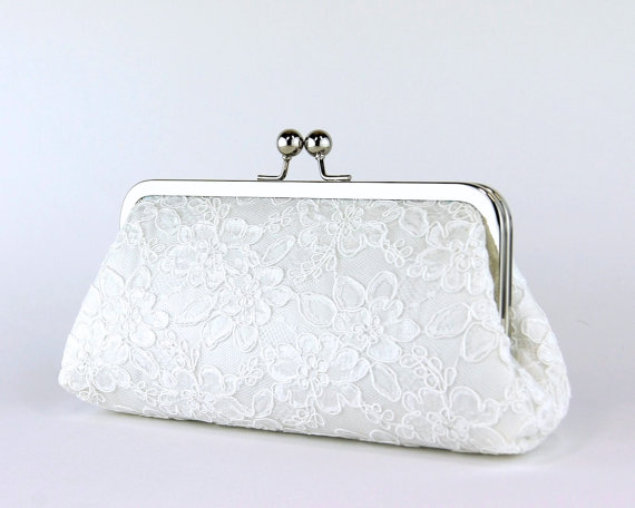 Alencon Lace Silk Clutch In Ivory Wedding Clutch Wedding Bag Bridal Clutch #2264549 - Weddbook