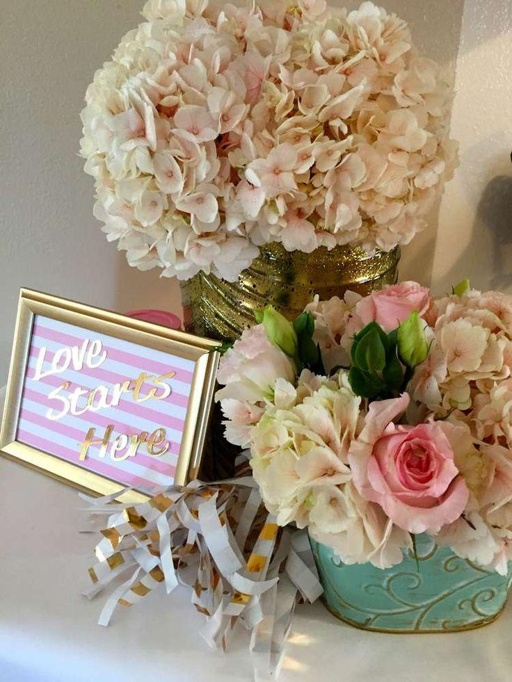 pink mint and gold bridalwedding shower party ideas