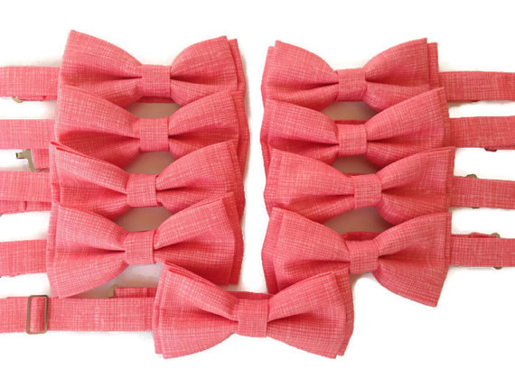 Mariage - Coral Bow Ties for Men & Boys {Coral Sketch Fabric}