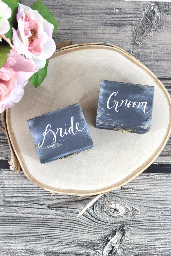 Mariage - Burlap Bride & Groom Ring Bearer Pillow Boxes - SET of TWO - (RB-11)
