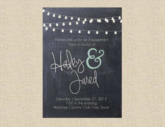 زفاف - Chalkboard & Lights Engagement Invitation