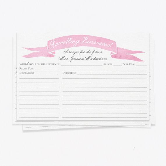 زفاف - CUSTOM PRINTED Bridal Shower Recipe Cards.  Something Borrowed Recipe Cards. Choose your color!