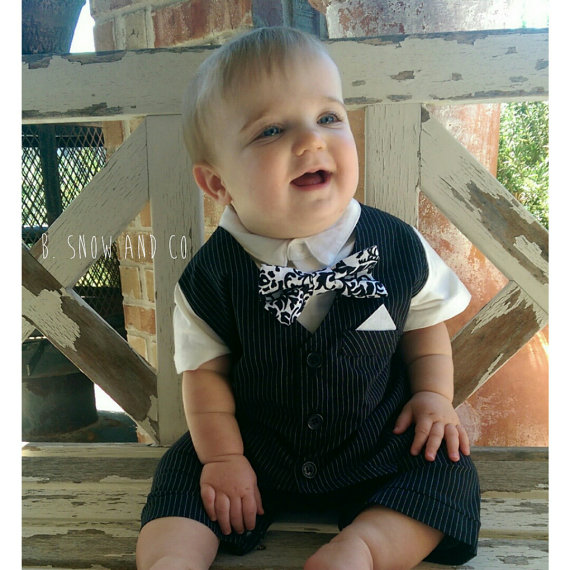 Mariage - Boy Wedding, Baby boy Formal Tuxedo,Baby Boy Wedding Outfit, Baby Boy Hipster Clothes,Boys Christening Suit, Ring Bearer Outfit, Church Suit