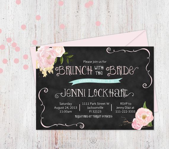 زفاف - printable bridal shower invitation, bridal brunch invitation, brunch with the bride invite,whimsical floral invite, digital invitation