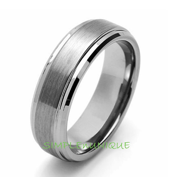 Mariage - 7MM Mens Promise Ring Tungsten Men's Wedding Band Tungsten Carbide Man's Engagement Ring Anniversary Ring, Tungsten Carbide Ring, SNUJDTZYP