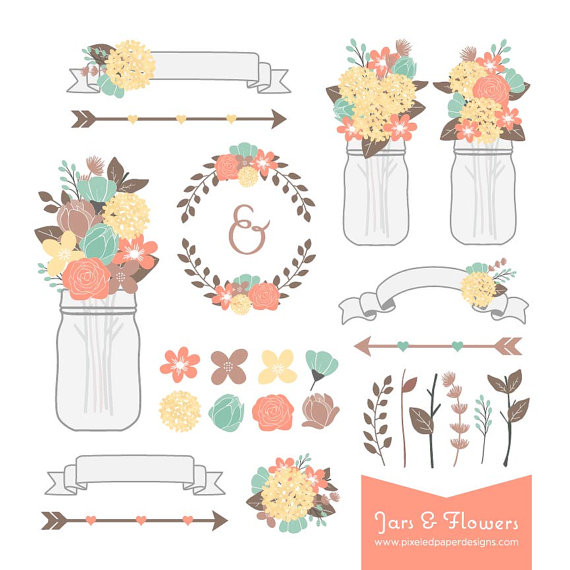 Rustic Flower Mason Jar Digital Clipart
