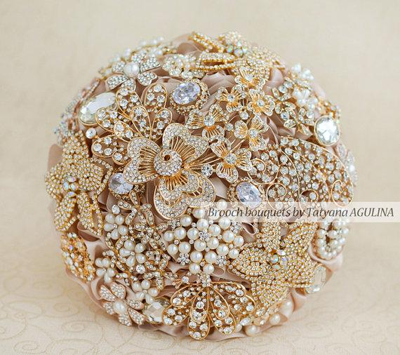 Crystal Brooch Bouquet Gold And Champagne Wedding Jeweled