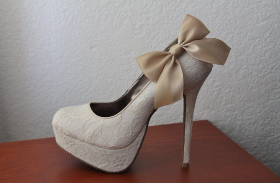 Wedding - Champagne Ribbon Bow Shoe Clips - 1 Pair
