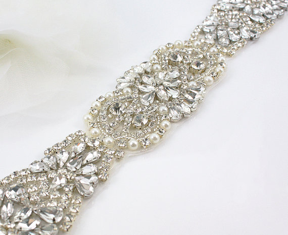 Mariage - JULIANNA - Vintage Inspired Crystal And Pearl Bridal Sash, Rhinestone Bridal Belt, Wedding Beaded Sash, Wedding Belts