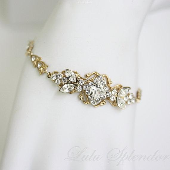 Mariage - Gold Wedding Bracelet Rhinestone Bridal bracelet Swarovski Crystal Art deco Wedding Jewelry  KATRINA CRYSTAL