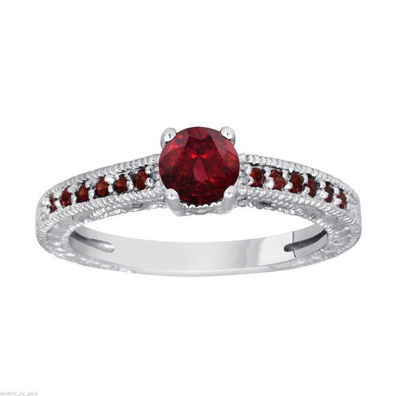 Mariage - Red Garnet Engagement Ring 14K White Gold 1.15 Carat Certified Pave Set Birthstone Vintage Style Handmade