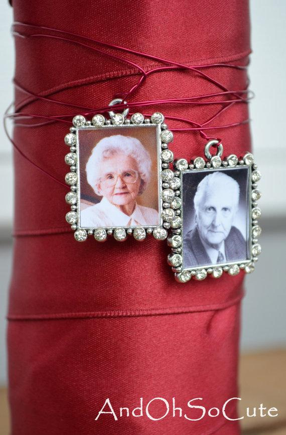 Mariage - Rhinestone Bouquet Antique Silver Photo Charm with Picture Setting Wedding Bridal Memory Accents Frame Bling