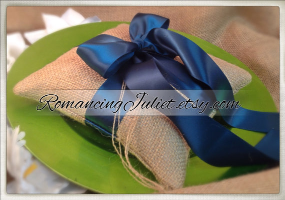 Wedding - Rustic Earthy Burlap Ring Bearer Pillow with Satin Ribbons..BOGO Half Off..You Choose The Colors..shown in teal green