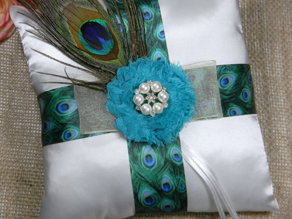 peacock ring bearer pillow peacock blue ring bearer pillow