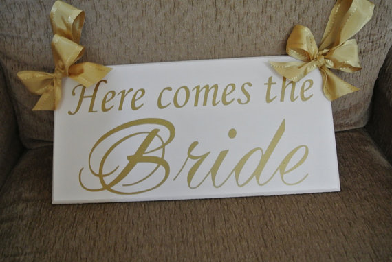Wedding - Here comes the Bride sign, Wedding Signage, Gold, Wedding Photo prop