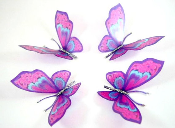 20 Curly Pink Stick On Butterflies, Wedding Cake Toppers, Butterfly ...