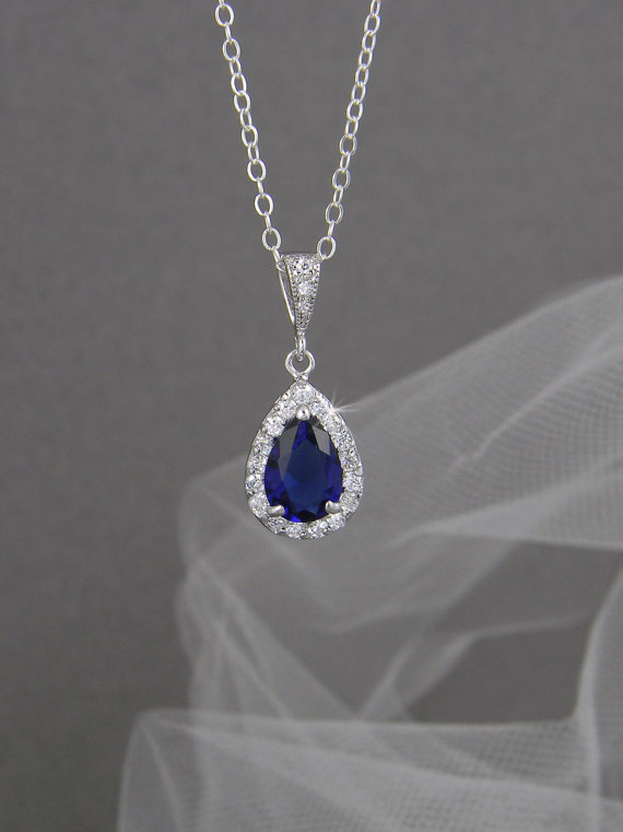 Crystal Bridal Necklace Sapphire Blue Wedding Jewelry