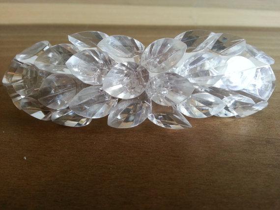 زفاف - Vintage Clear Crystal Beaded Hair Barrette French Clip Ladies 1980s Wedding Faceted