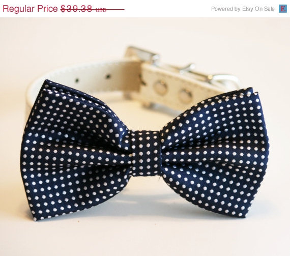 Свадьба - Navy Dog Bow Tie, Pet accessory, Dog Lovers, Navy wedding, Navy wedding accessory, Polka dots, Dog birthday gift