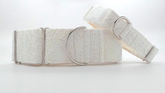 Свадьба - Vintage Lace Wedding Dog Collar (Martingale, Buckle or Tag)