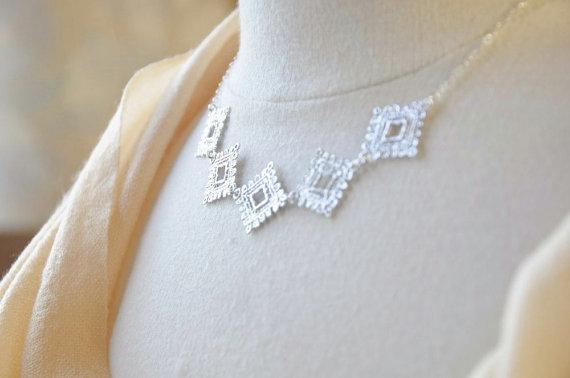 Свадьба - Sterling Silver Ultimate Lace Bib Necklace - Statement Jewelry, Dainty Feminine, Wedding Bridal Jewelry, Elegant