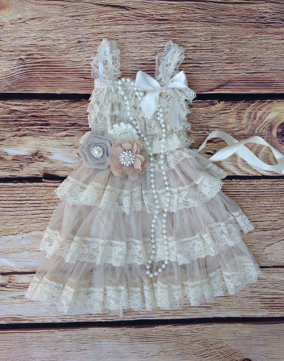 Tan Beige Lace BurlapToddler Baby Girl Dress- Burlap Flower-Tan ...