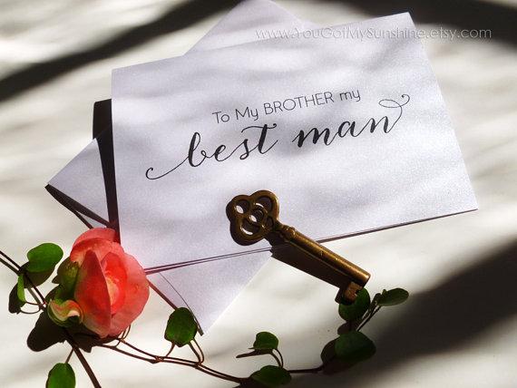 زفاف - To my brother my best man wedding card - best man - on my wedding day card - Calligraphy Style - ANITA