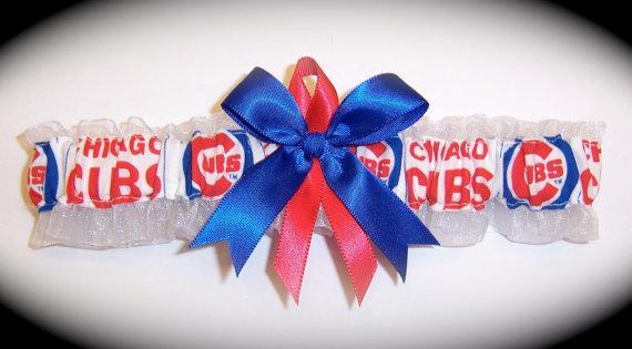 Mariage - Handmade Wedding Set Garter Chicago Cubs Bridal rore1