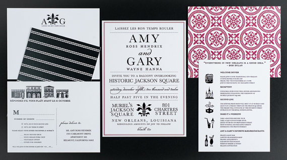 wedding invitation destination new orleans wedding collection as featured on borrowed and blue - New Orleans Wedding Invitations