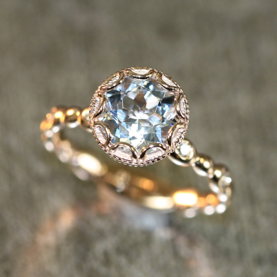 26639115ff0a9 Floral Aquamarine Engagement Ring In 14k Rose Gold Diamond Pebble ...