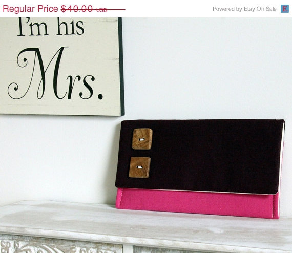 Mariage - Sale 10% Off The Katie Clutch - Color Block Clutch, Pink and Purple Clutch, Pink Bridesmaid Clutch, Rustic Wedding Clutch, Clutch with Butto
